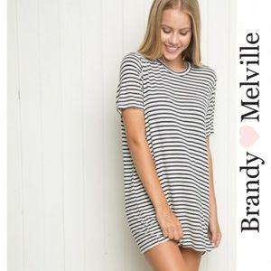 Brandy Melville Black Cream Striped Dress One Size